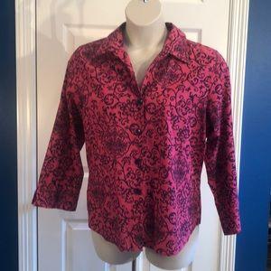 EUC Pink & Navy Wrinkle Free Foxcroft Shirt